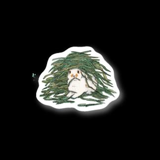 SCHINAKO'Sのチモシーに埋もれるうさぎさん ブロークンオレンジ Stickers