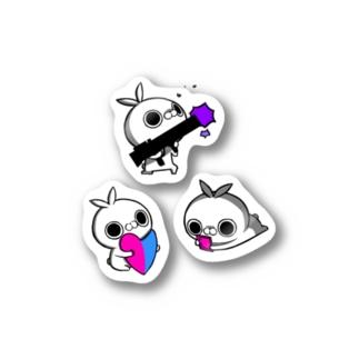 クレイジー闇うさぎ(銃とハートとスマートフォン) Stickers