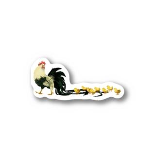 尾長鶏 ステッカー