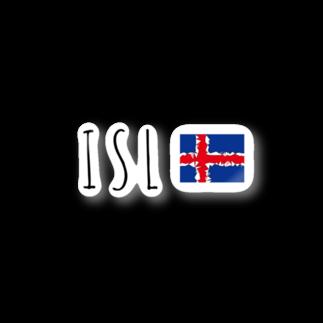 mijokulのISL アイスランド国旗デザイン Stickers