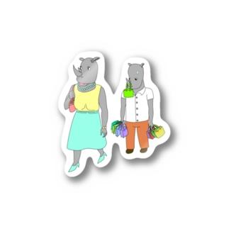 荷物を持たされるサイ Stickers