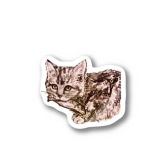 お魚くわえた野良猫 Stickers