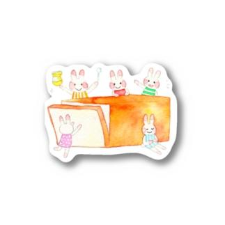 ウサギさんと食パン ステッカー