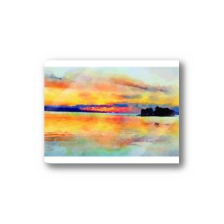 宍道湖の夕日 水彩 Stickers