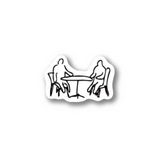 テーブル席でくつろぐ人 Stickers