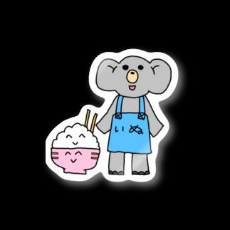 ぞうのもろんちゃん【新装開店】のぞうのもろんちゃんとニコニコごはんちゃん Stickers