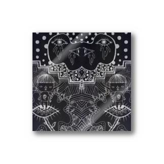 刈り上げさんと目の人黒地1 Stickers
