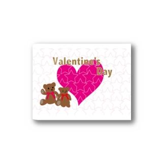 バレンタインのピンクのハートとテディーベアのカード Stickers
