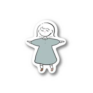 考える外ハネ女の子 Stickers