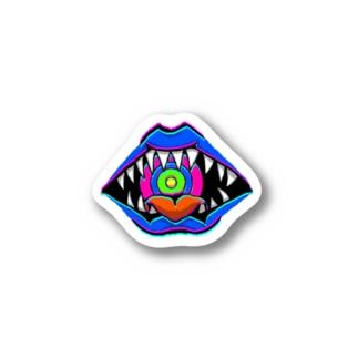 \舌あり/目は口ほどに(青) Stickers