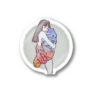 満月と毛布 ステッカー Stickers