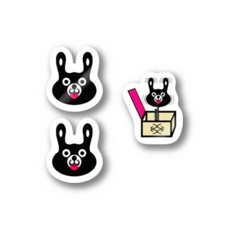 BLACK BUNNY 001 てへぺろ MINI Stickers