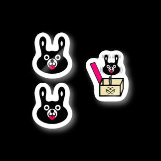 rocoのBLACK BUNNY 001 てへぺろ MINI Stickers