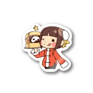 チャイナガール&パンダ Stickers