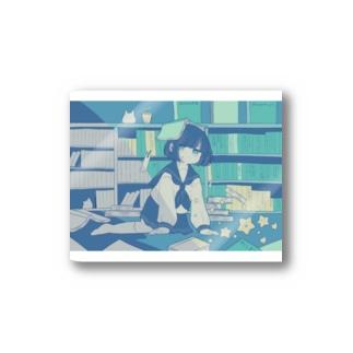 本と女の子 Stickers
