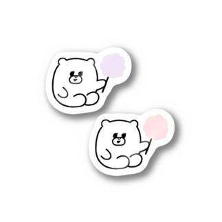 くま(わたがし) Stickers