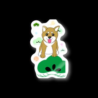 Lily bird(о´∀`о)のにこにこ柴犬 和柄背景① Stickers