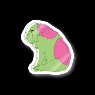 さくら もたけのジト目bulldog(green×pink) Stickers