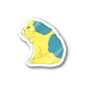 ジト目bulldog(yellow×blue) Stickers