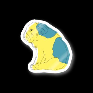 もたけのジト目bulldog(yellow×blue) Stickers