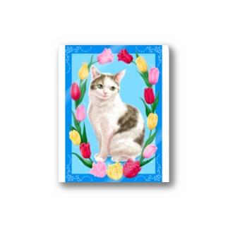 チューリップと猫 Stickers