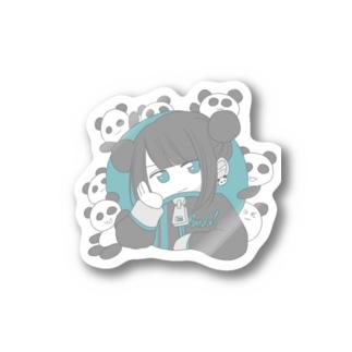 パンダと女の子 Stickers
