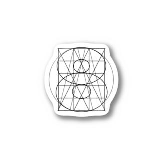 グリッド線イラストグッズ Stickers