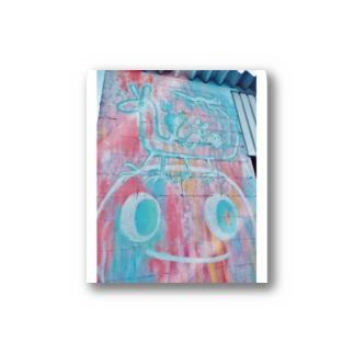 壁らくがき 07-水色とマゼンタ Stickers