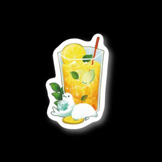 BARE FEET/猫田博人のレモンティーアザラシ・ステッカー Stickers