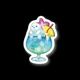 BARE FEET/猫田博人のトロピカルアザラシ・ステッカー Stickers