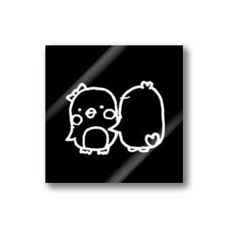 まゆげペンギン(♂)とドライな彼女 ハグver. Stickers