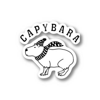 カピバラ 動物イラスト アーチロゴ Stickers
