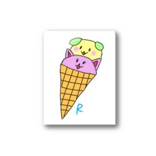 わんにゃんアイス Stickers