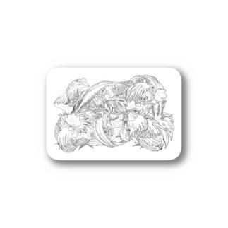 日本の美 葛飾北斎「群鶏」モノクロ版 Stickers