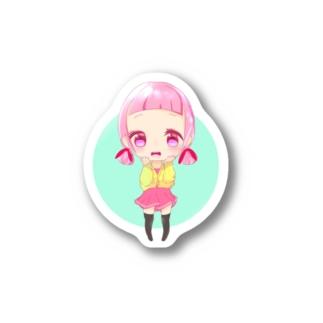 【2個限定】ちびキャラpink Stickers