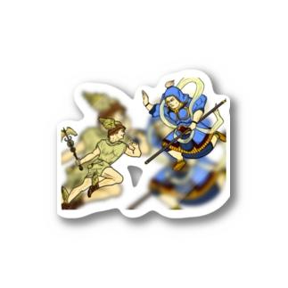 エムちのヘルメスvs韋駄天 Stickers