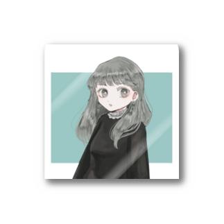 女の子 green Stickers