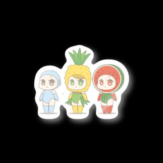 satchico自己満かわいいもの屋さんの変身ガール(プレーン、パイナップル、スイカ) Stickers