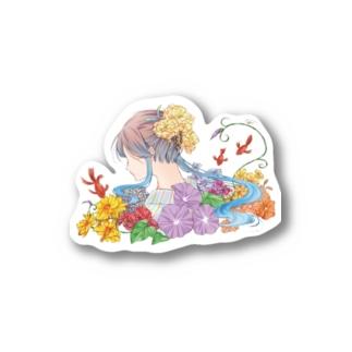 夏「日本のきもの美人」 Stickers