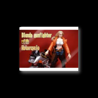 FUCHSGOLDのドール写真:金髪美女とオートバイ Doll picture: Blonde gunfighter & motorcycle Stickers