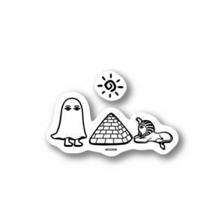 Cɐkeccooのエジプトの神様★メジェドさまとスフィンクス-モノクロ Stickers