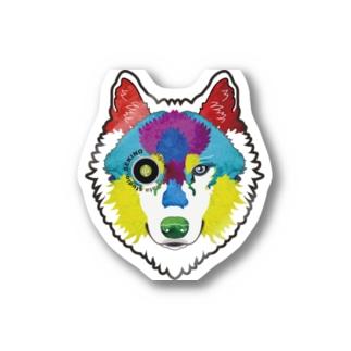 狼-絵具 ステッカー