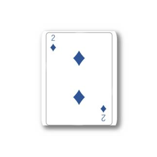 トランプ-ダイヤ-2-Blue-右上 Stickers