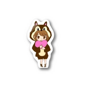 ハートを抱える少女 Stickers