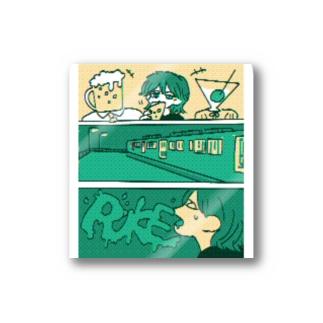 【ピクセル調】RUKE:立ちながら下呂吹っ飛ばした ステッカー「くろギャル」 Stickers