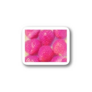 pink strawberry(硝子加工) Sticker