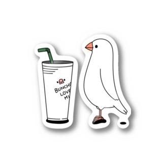 ・buncho days・ 文鳥デイズのカフェ文鳥 Stickers