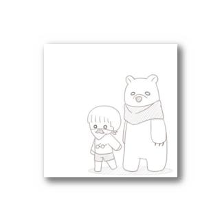 スヌードを巻いたシロクマとスカーフを巻いた少年 Stickers