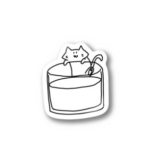 牛乳が飲みたいのびネコさん Stickers