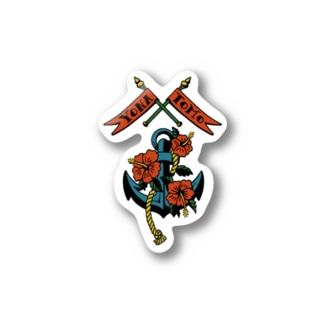 錨とハイビスカスと旗 Stickers